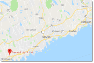 Google map showing the location of Greenwich High School.